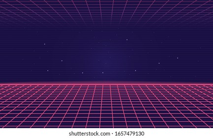Trendy Retro 80s, 90s background with laser grid. Neon sci-fi abstract background template. Vector illustration
