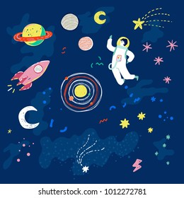 Trendy retro 90s style vector illustration with cartoon stars, planets, moon, space ship and astronaut.