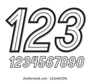Trendy retro bold rounded numbers collection, vector numeration, for use as vintage poster design elements