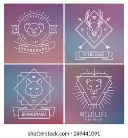 Trendy Retro Vintage Insignias Bundle. Animals. Wolf, deer, koala, lion. Vector set of outline emblems and badges - abstract hipster logo templates
