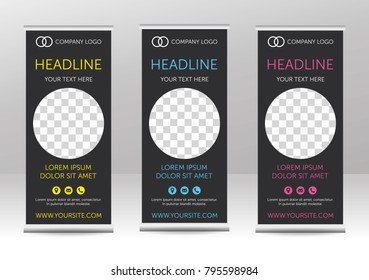 Trendy roll up banner design with circular space for photo/picture. Simply grey background with icons - address, email, phone. Set. Colored - yellow, blue, pink. Vector eps 10