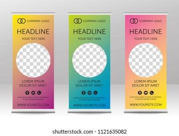 Trendy roll up - vertical banners design with circular space for photo or picture. Modern gradient background with icons - address, email, phone. Set. Colored. Vector eps 10