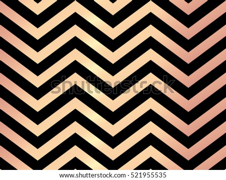 Trendy Rose Gold Chevron Patterned On Black Background Abstract Wallpaper Elegant Luxury