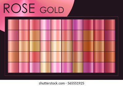 Trendy Rose gold set: gradient collection with pink, red, yellow... colors for fashion, hipster, beauty design. Vector illustration