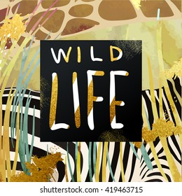 Trendy safari style african savanna nature and animals vector illustration. Dry grass, zebra and  giraffe texture with glittering gold art strokes and stardust. Hand written
