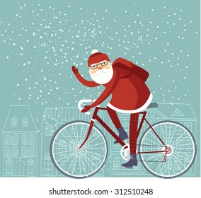 Trendy Santa Claus riding his bicycle vector