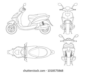Trendy scooter outline isolated on white background. Isolated Motorbike template for moped, motorbike branding and advertising