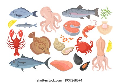 Trendy seafood flat pictures collection. Cartoon mussel, fish, shrimp, caviar, lobster, crayfish, crab, oyster and tuna isolated vector illustrations. Gourmet and nutrition concept