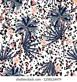 Trendy seamless animal prints pattern with tropical plants and leopard prints. Vector illustration  design for fashion,fabric,paper, wallpaper, cover, and all prints on white background color
