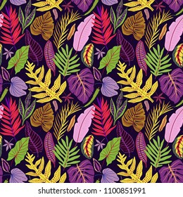 Trendy seamless background with tropical leaves. Bright jungle pattern with palm leaves and exotic plant. The elegant template with Hawaiian motifs, on dark violet background.