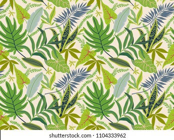 Trendy seamless background with tropical leaves. Bright jungle pattern with palm leaves and exotic plant. The elegant template with Hawaiian motifs, on white background.