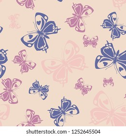 Trendy seamless butterfly iterative template isolated on contrast back layer. Wildlife butterfly repeat theme vector. Wildlife insect fauna backdrop for wallpaper.