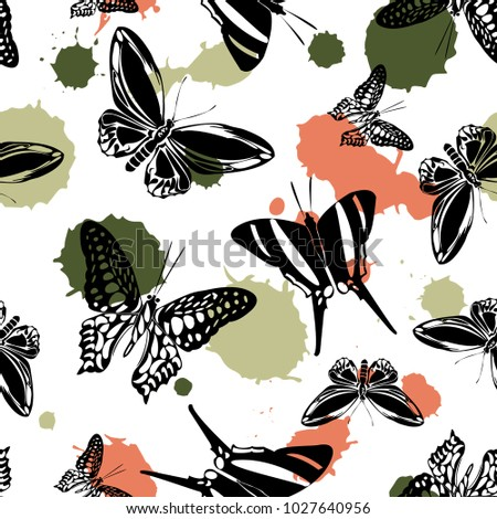 Trendy Seamless Butterfly Kite Pattern Green Stock Vector Royalty Magnificent Kite Pattern