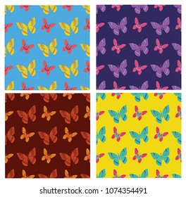 trendy seamless  with  colorful butterfly