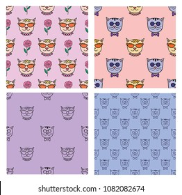 Trendy seamless  with cute cats.For printed t shirt, graphic tee, wallpaper and other design.