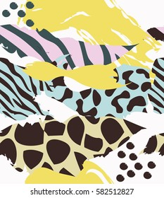 Trendy seamless exotic pattern with animal print and geometric elements. Vector illustration