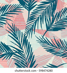 Trendy seamless exotic pattern with hand texture and geometric elements. Vector illustration