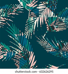 Trendy seamless exotic pattern with palm, animal prins and hand drawn textures. Vector illustration. Modern abstract design for paper, wallpaper, cover, fabric, Interior decor and other users.