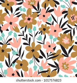 Trendy seamless floral ditsy pattern. Fabric design with simple flowers. Vector cute repeated pattern for baby fabric, wallpaper or wrap paper.