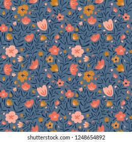 Trendy seamless floral ditsy pattern. Fabric design with simple flowers. Vector cute repeated pattern for fabric, wallpaper or wrap paper.