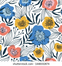 Trendy seamless floral ditsy pattern. Fabric design with simple flowers. Vector cute repeated pattern for fabric, wallpaper or wrap paper