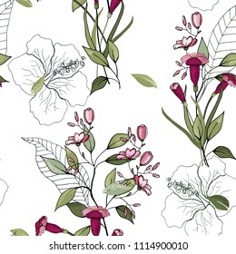 Trendy seamless floral pattern. Blooming realistic isolated flowers. Hand drawn. Vector illustration.