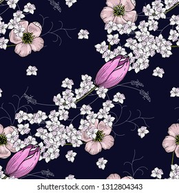 Trendy seamless floral pattern of chamomile and tulips.. Vintage background. Blooming realistic isolated flowers. Hand drawn vector illustration.