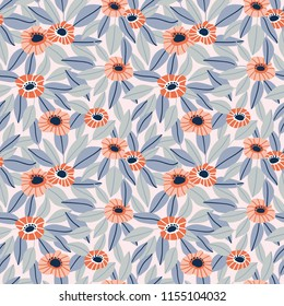 Trendy Seamless Floral Pattern in Vector hand drawn style. Ditsy repeated background.