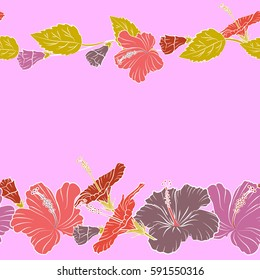 Trendy seamless floral pattern. Vector illustration with many orange, yellow and pink hibiscus flowers and copy space (place for your text).