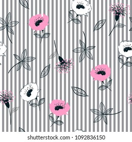 Trendy Seamless garden flowers  pattern on grey and white stripes. Leaves  illustration. Modern graphics. blooming floral,for fashion fabric and all prints hand drawing style