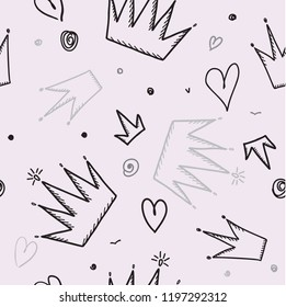 Trendy seamless girl pattern with crown, vector illustration. Design princess background for packaging, social networks