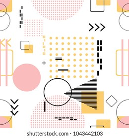 Trendy seamless, Memphis style with geometric pattern, vector illustration with geometric figures. Design backgrounds for invitation, brochure and promotion template.