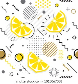 Trendy seamless, Memphis style lemon geometric pattern, vector illustration with line elements and  geometric figures. Design backgrounds for invitation, brochure template Memphis fashion