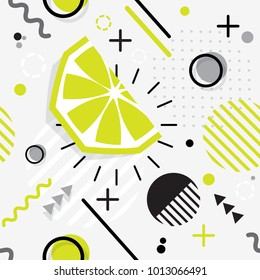 Trendy seamless, Memphis style  lime geometric pattern, vector illustration with line elements and  geometric figures. Design backgrounds for invitation, brochure template Memphis fashion 80's