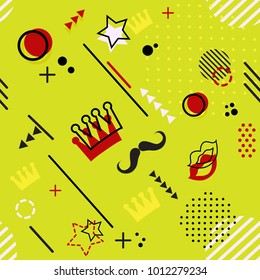 Trendy seamless, Memphis style Purim geometric pattern, vector illustration with line elements and  geometric figures. Design backgrounds for invitation, brochure and promotion template Memphis
