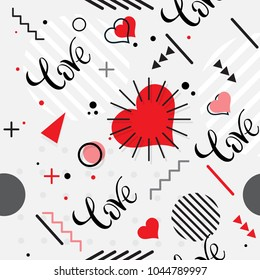 Trendy seamless, Memphis style Valentines geometric pattern, vector illustration with line elements and abstract geometric figures. Design backgrounds for  brochure, and promotion template Memphis