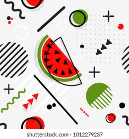 Trendy seamless, Memphis style watermelon geometric pattern, vector illustration with line elements and  geometric figures. Design backgrounds for invitation, brochure and promotion template Memphis