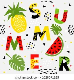 Trendy seamless, Memphis style watermelon and pineapple geometric pattern, vector illustration with line elements and  geometric figures. Design backgrounds for brochure and promotion