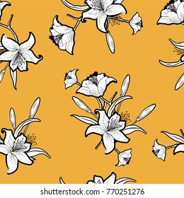 Trendy seamless outline monotone flowers with vivid yellow background