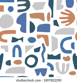 Trendy seamless pattern with abstract organic cut out. Matisse inspired shapes in neutral colors. Modern vector illustration perfect for fabric, wrapping texture, textile, wallpaper, home apparel.