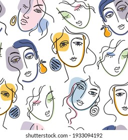 Trendy seamless pattern with abstract portraits of young women. Vector illustration for textile print , background, wallpaper, decorative paper and other design.