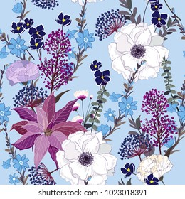 Trendy seamless pattern. Bright botanical stylish many kind of  florals  blooming   Seamless vector texture. Printing with in hand drawn style on light sky blue background.