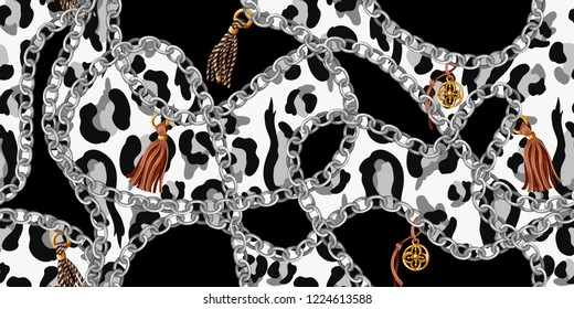 Trendy seamless pattern with chains on leopard skin. Vector.