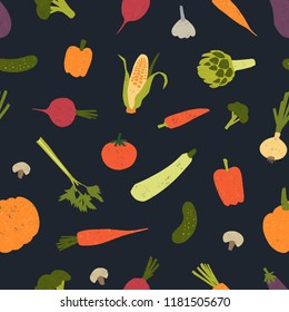 Trendy seamless pattern with delicious vegetables or harvested crops scattered on black background. Backdrop with wholesome vegan food products. Vector illustration for fabric print, wrapping paper.