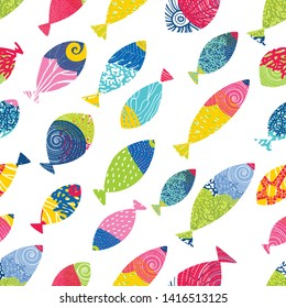 Trendy seamless pattern designs. Cute  fish. Vector seamless pattern. Can be used for wallpaper, textile, invitation card, wrapping, web page background.