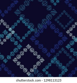 Trendy seamless pattern designs. Mosaic of figures with circles and quadrilaterals with striped texture. Vector geometric background. Can be used for wallpaper, textile, invitation card, wrapping.
