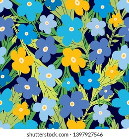 Trendy seamless pattern designs. Summer flowers.  Can be used for wallpaper, textile, invitation card, wrapping, web page background.