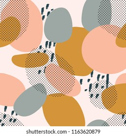 trendy seamless pattern of geometric shapes and doodles. Colorful pattern memphis style