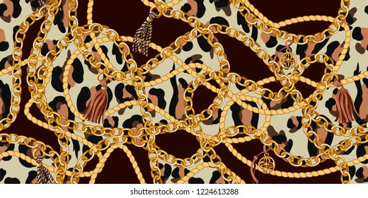 Trendy seamless pattern with gold chains and rope on  leopard skin. Vector.