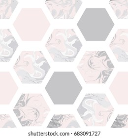 Trendy seamless pattern with marble hexagons